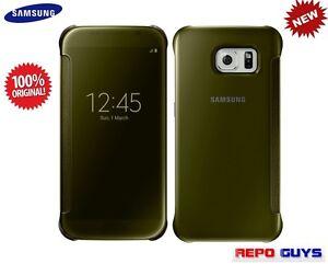Samsung-Galaxy-S6-EF-ZG920B-Original-CLEAR-View-Flip-Case-Cover-GOLD