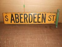 Vintage Chicago Double Sided Porcelain Street Sign South Aberdeen Street