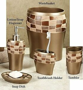 Popular bath 5 piece mosaic stone oil rubbed bronze resin for Bronze and silver bathroom accessories