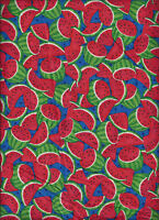 6 Yards Fabric Watermelon Just Picked 100% Cotton Red +green On Blue Quilting