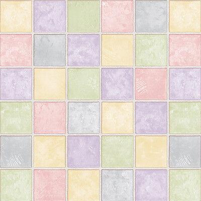 Yellow Green Purple Pink Tile Effect Self Adhesive Wallpaper Vinyl Paper Sheets Ebay