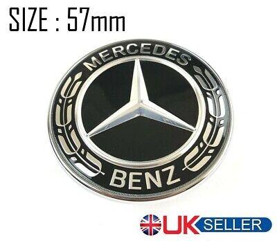 Mercedes Benz 57mm Black Wreath Bonnet Badge Emblem A C E S Class AMG MB1