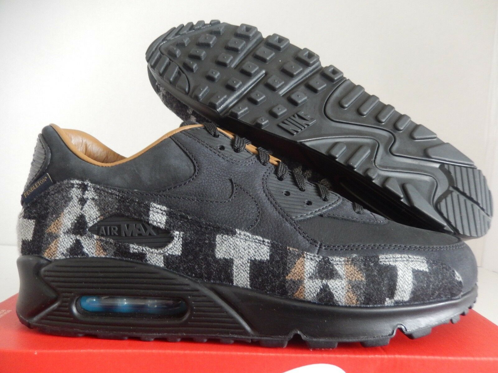 NIKE AIR PENDLETON MAX 90 PND QS PENDLETON AIR PREMIUM BLACK-ALE BROWN SZ 11.5 [825512-004] fbd12f
