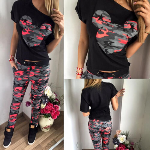 Camouflage Hausanzug Damen Sommer Gym Trainings Jogging Sport Anzug Mickey Mouse