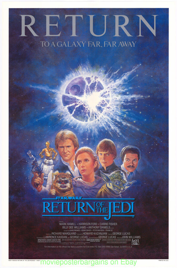 Return Of The Jedi Affiche de Film R1985 Star Wars Menthe 27x41 Enroulé Unique