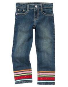 GYMBOREE-Cozy-Cute-Size-7-Blue-Jeans-New-Straight-Leg-Denim-Pant-Ribbon-Sequins