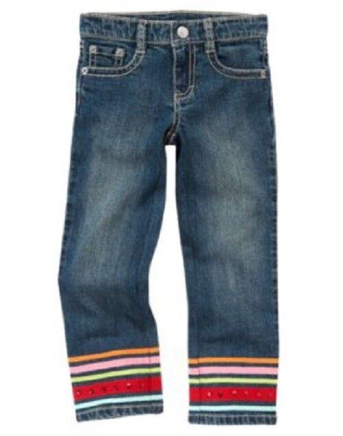 GYMBOREE Cozy Cute Size 7 Blue Jeans New Straight Leg  Denim Pant Ribbon Sequins