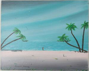 """"""" Maui Shore """" Par Kenneth Stancin Signée 2005 Acrylique / Huile Peinture Sur Pratique Pour Cuire"""