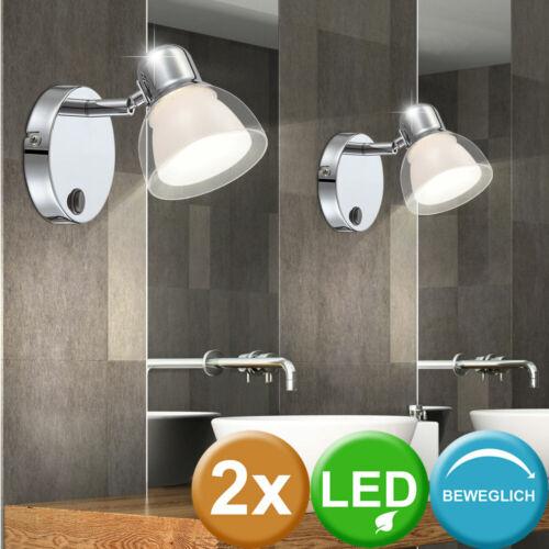 2er Set LED Wand Lampen Leuchten Strahler Spots Beleuchtung Schalter schwenkbar