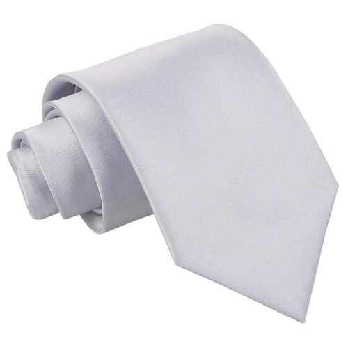 DQT Satin Plain Solid Silver Formal Wedding Mens Classic Tie
