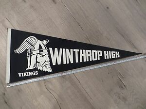 Waltham Massachusetts High School Mass MA Vintage Felt Pennant Flag Football