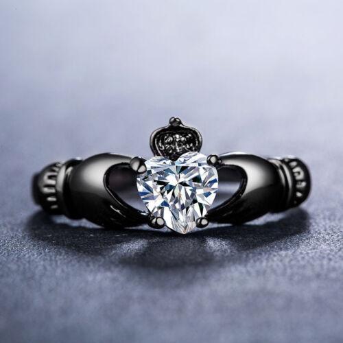 Romantique Femmes Bijoux 14kt Black Gold Filled élégante bague de mariage Taille 6-10