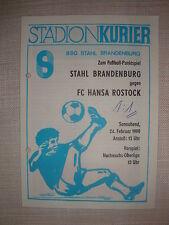 Programm Stahl Brandenburg FC Hansa Rostock 1990 DDR Oberliga FCH Fussball