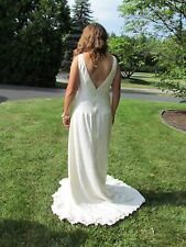 ANNIQUE COUTURE $2800 White Silk Crepe Satin Bridal Wedding Gown Dress 10 NEW