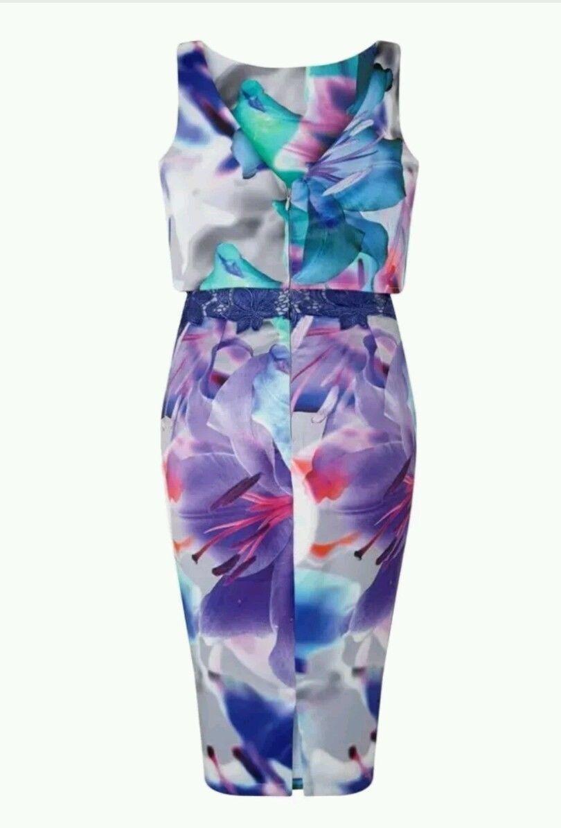 New Lipsy VIP Lily Lily Lily Floral Print Dress Sz UK 10  & 16 | Online-Exportgeschäft  | Ermäßigung  | Elegantes Aussehen  eb3b5a