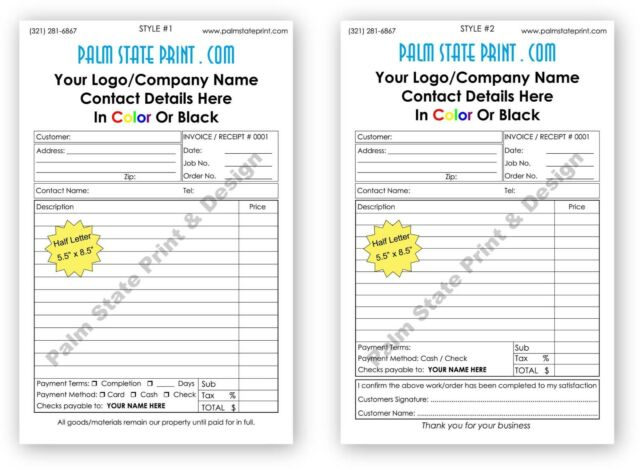 2 part small customized carbonless paper invoice proposal receipt