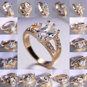 18K-Gold-Filled-Wedding-White-Sapphire-Engagement-SIZE-8-Ring-Bride-Stunning-New