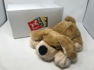 Vintage-FAO-Schwarz-Puppy-Dog-Hand-Puppet-stuffed-animal-plush-Tan-With-BOX