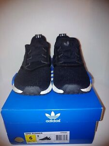 big sale 4d471 e9ff3 Details about Adidas NMD Runner Tokyo S79162 Core Black White Blue Sz 6  Brand New