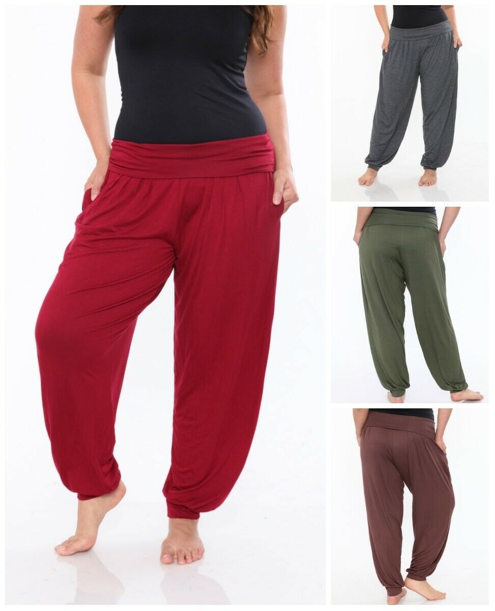 White Mark Plus Size Casual Style Harem Pants For Women
