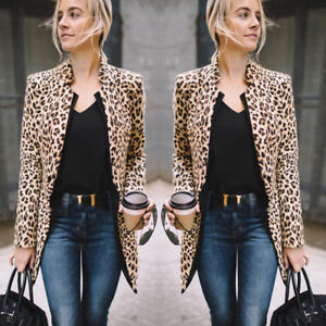 Casual-Slim-Solid-Suit-Blazer-Jacket-Coat-Outwear-Women-Fashion-Leopard-Print