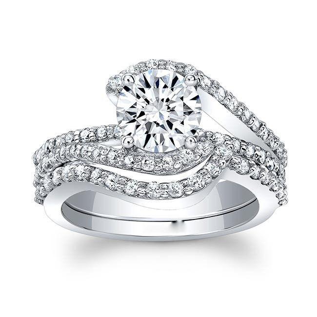 Real 10k White gold 2.30Ct Round Cut Women's Diamond Engagement Ring Bridal Set