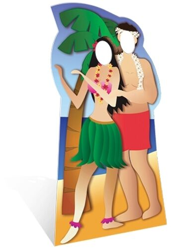Hawaiian Couple Stand In Cardboard Cutout Fun Figure 190cm Tall - At your Party