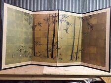 Vintage Japanese Chinese 4 Panel Folding Screen Byobu Painted 72x36 GOLD signed