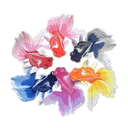 pretty goldfish embroidery iron on patch sewn for clothing applique skirt motif