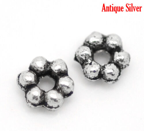 500Pcs Silver Tone Flower Spacer Beads 3mm Dia.Wholesale