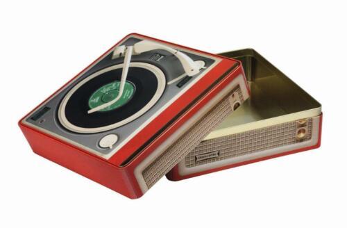 Large Retro Record Player Tin 310 x 310 x 137mm