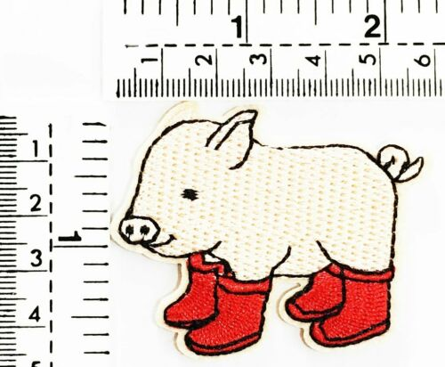 3PCS Pig boar farm livestock With boots animals cartoon patch Applique Clothes
