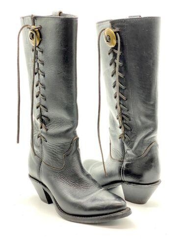 HARLEY DAVIDSON Vintage Black Leather Knee High La