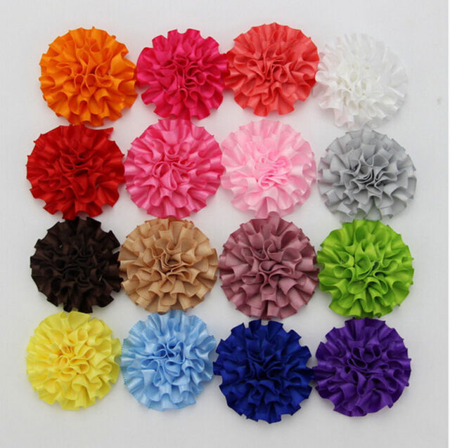 """50pcs 2"""" Cabbage Satin Fabric Puff Flowers Appliques for Headband Assorted Color"""
