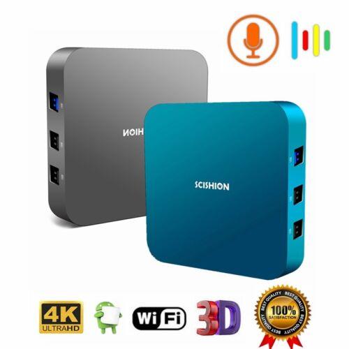 SCISHION AI ONE Smart 4K TV Box Android 8.1 Voice Control 16GB//32GB 2.4GHz WiFi