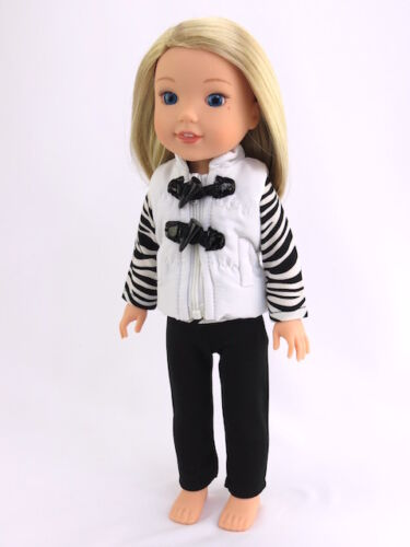 Zebra Puffer Vest Pant Set Fits American Girl 14.5 Wellie Wisher Doll Clothes