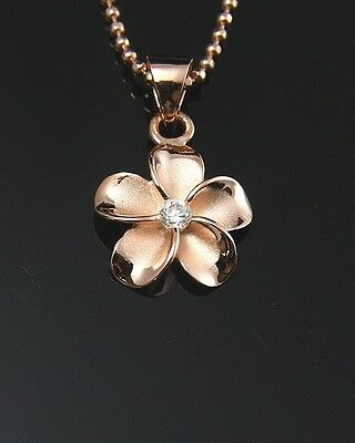 PINK ROSE SILVER 925 HAWAIIAN PLUMERIA FLOWER PENDANT CZ 12MM