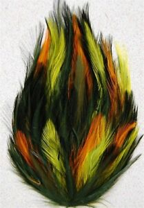 RED//MOSS//YELLOW; Headband//Hats HACKLE FEATHER PAD