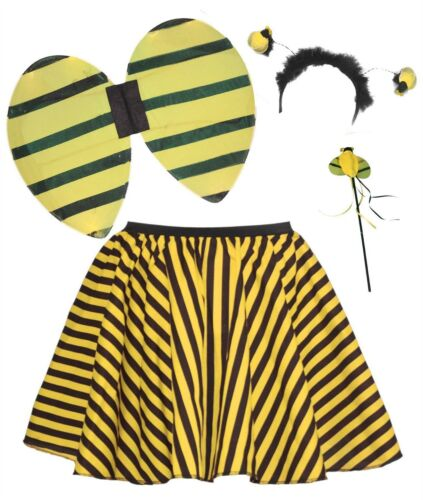 "Girls Age 6-12 Yellow Striped Childs 15/"" Skater Skirt /& Bumble Bee Accessory Kit"