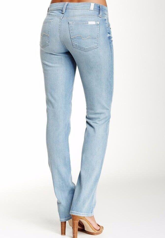 Nwt 7 für Alle Sz30 Klassisch Gerade Midrise Jeans Stretch Puder Schwarz