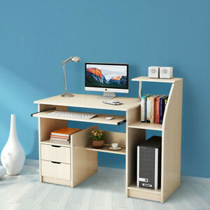 Magnificent Details About Computer Desk Office Workstation Laptop Pc Table With Drawer Cabinet 100Cm Table Beutiful Home Inspiration Truamahrainfo