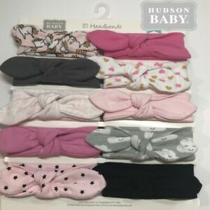 Hudson Baby Girl Cotton Headbands Pink and Navy Floral 10-Pack
