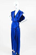 "Roland Mouret NWT Blue Silk Ruffle Sleeveless ""Coppelia"" Gown SZ 4"