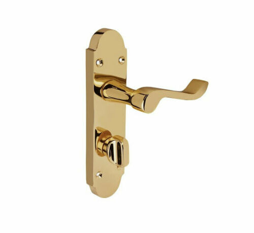 Shaped Scroll Bathroom Internal Door handle in Brass 168mmx42mm