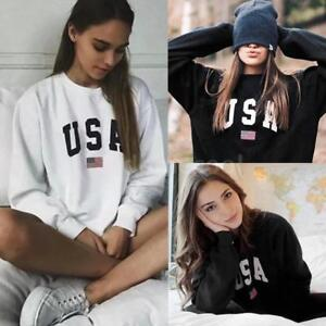 Womens-USA-Letter-Print-Hoodie-Sweatshirt-Pullover-Sweater-Jumper-Casual-Tops