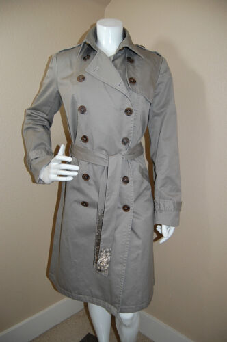 York L~euc Beaded New Breasted Coat~size Back Gryphon Double Trench Belted fwS5wq