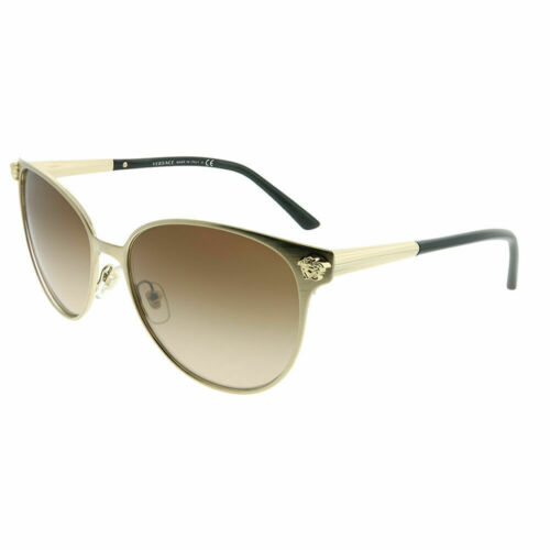 Versace VE 2168 133913 Brushed Pale Gold Round Sunglasses Brown Gradient Lens