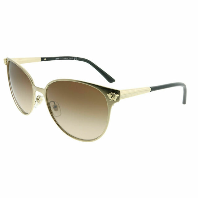 5bd17f06a0 Versace VE 2168 133913 Brushed Pale Gold Round Sunglasses Brown Gradient  Lens
