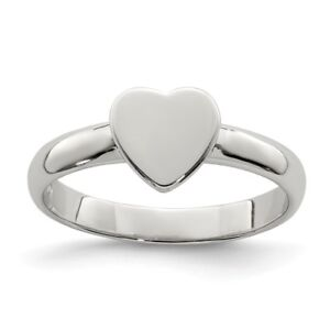 e9cc1a0cc 925 Sterling Silver Children's Plain Polished 2.5mm Heart Ring Sizes ...