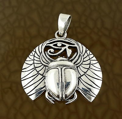 Scarab & Eye of Horas Pendant in Solid 925 Silver - Egyptian Lucky Charm